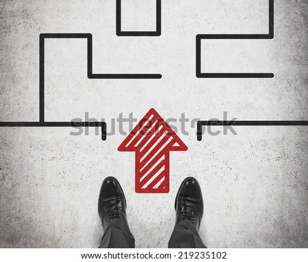 Businessman looking at complicated maze. A concept of start up project.