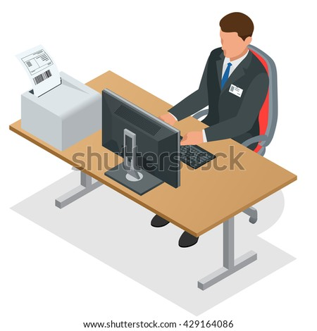 Businessman looking at the laptop screen. Businessman at work. Man working at the computer. Flat 3d isometric illustration