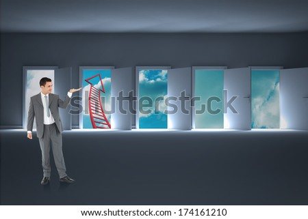 Businessman looking at what he is presenting against doors opening to show red arrow and sky