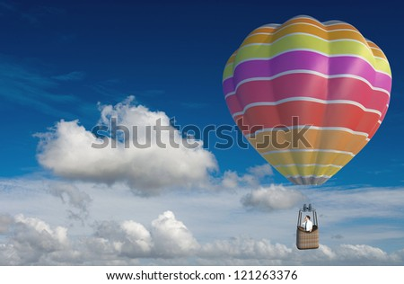 Businessman looking for business ina hot-air balloon