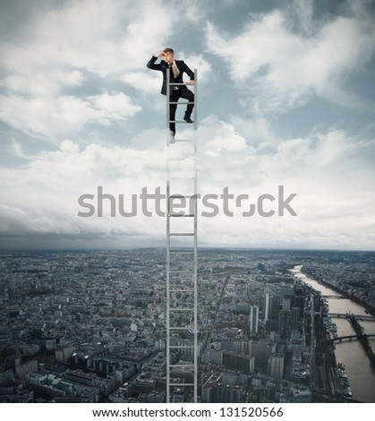 Businessman looking for job on a stairs