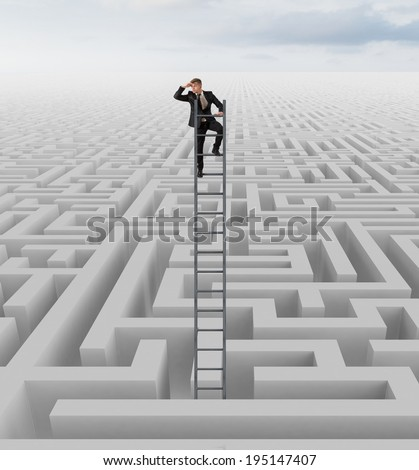 Businessman looking for the solution of the maze
