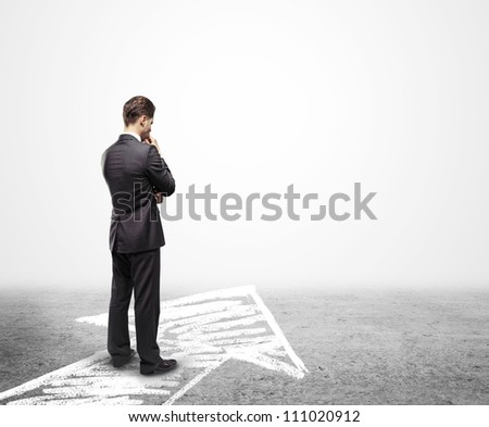 businessman looking for unknown future