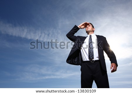 Businessman looking into distance