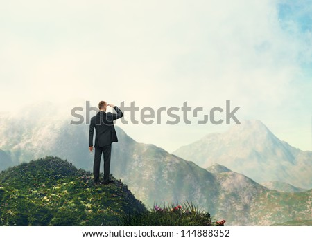 businessman looking landscape