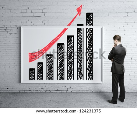 businessman looking poster with growth chart