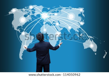 Businessman looking  social network structure