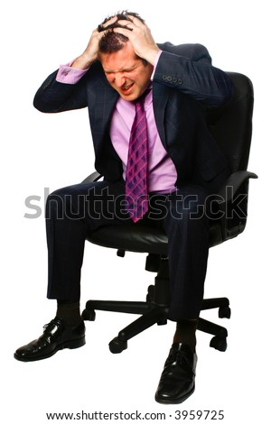 Businessman looking stressed while sitting on his office chair, both hands on his head, face looking red hot,isolated. - stock photo