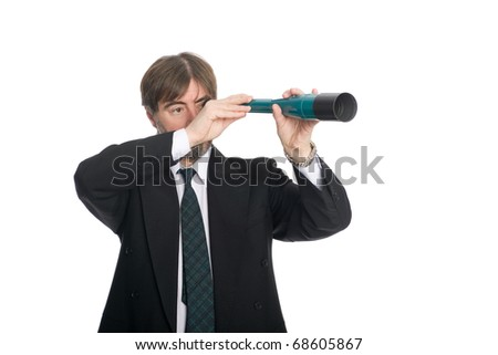 Businessman looking through a spyglass. Prospects for future business.