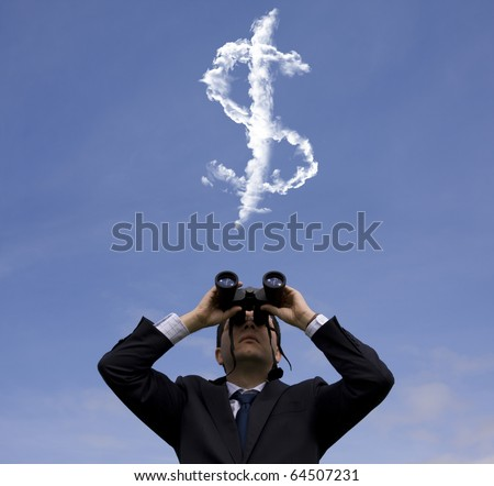 Businessman looking through binoculars to a dollar sign at the sky