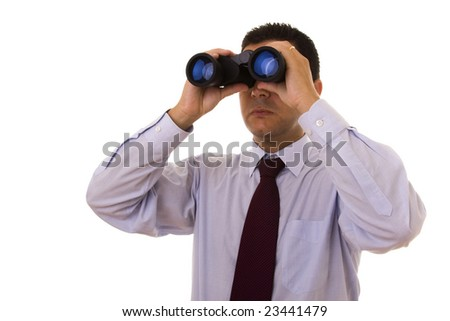businessman looking through the binocular (isolated on white)