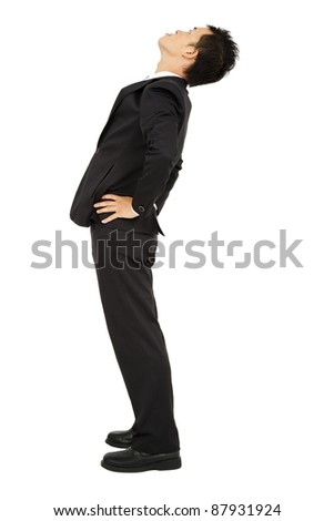 businessman looking up and isolated on white