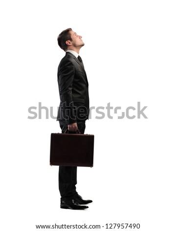 businessman looking upward
