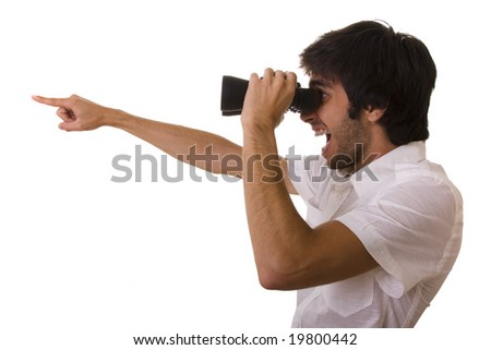businessman looking with his binocular and pointing to the copy space