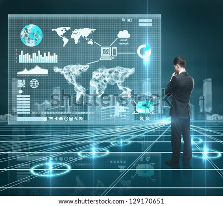 businessman looking world map on interface screen