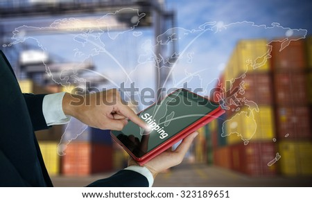 businessman make order shipping online worldwide , fast and instant shipping , business idea concept