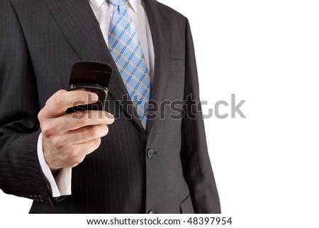 Businessman making a call against a white background