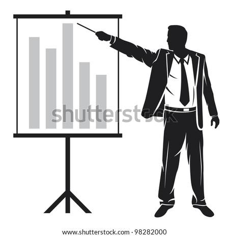businessman making a presentation (businessman showing business presentation)