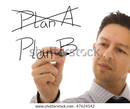 Businessman making choosing her strategy with the second plan