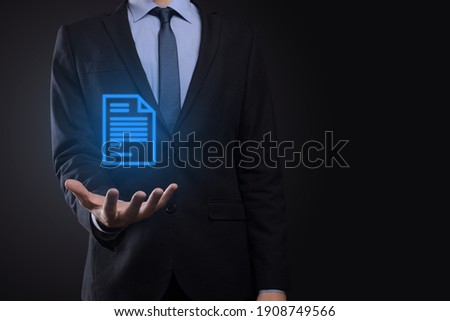 Businessman man holding a document icon in his hand Document Management Data System Business Internet Technology Concept. Corporate data management system DMS . Сток-фото ©