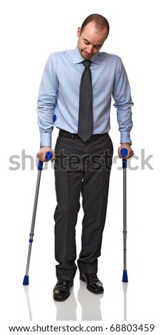 businessman man walking with crutch  isolated on white