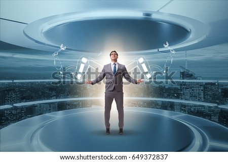 Businessman man with robotic arms