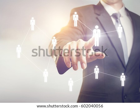 Businessman managing group people icons. HR concept