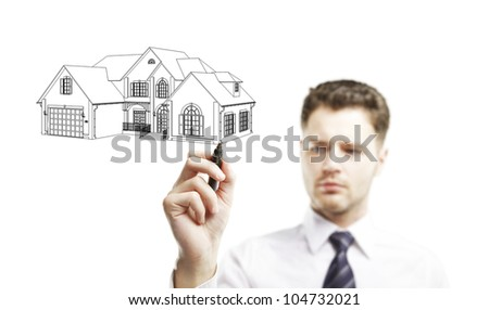 businessman marker draws a model house