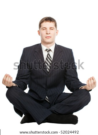 Businessman meditate , Isolated on white background