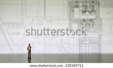 businessman miniature people looking diagram #228189712