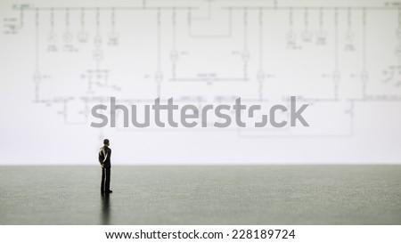 businessman miniature people looking diagram #228189724