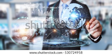 Businessman moving digital datas with a tactile pen on hologram screen 3D rendering