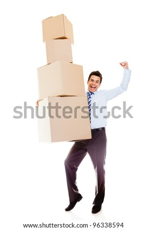 Businessman moving office and carrying boxes - isolated over a white background