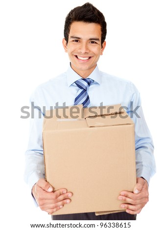 Businessman moving office holding a box - isolated over a white background