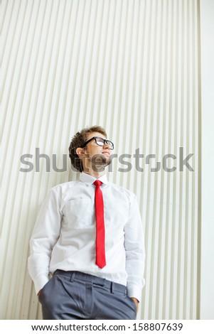 businessman near the wall