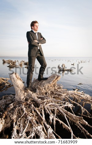 businessman near the water