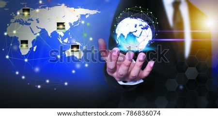 Businessman network technology and  communication