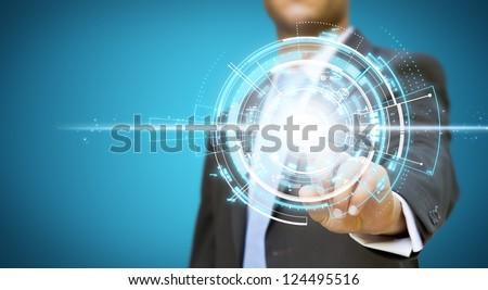 Businessman new technology concept - stock photo