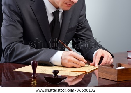 Businessman notarize testament at notary public office