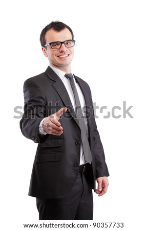 businessman offering his hand, isolated on white