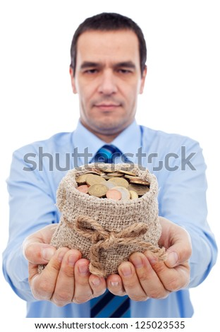 Businessman offering you a bag of money - various euro coins