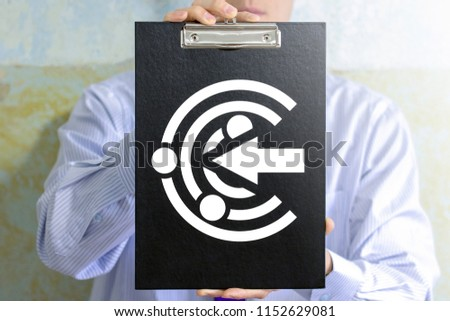 Businessman offers a clip board with proactive icon. Proactive business strategy development concept. Strategy of proactivity. #1152629081