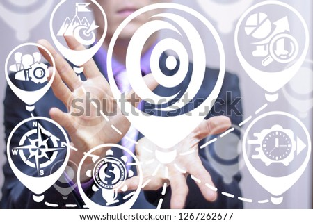 Businessman offers a portal place icon on a virtual screen. Portal business finance future forecasting concept. #1267262677