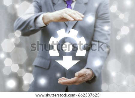 Businessman offers gear arrow down icon on virtual screen. Integration Repair Service Business Industry Technician Upgrade Setting Setup Maintenance Installation Introduction Concept.
