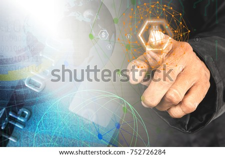 Businessman offers something positive in financial investment. Businessman handing a touch point map and technology icon, credit card.