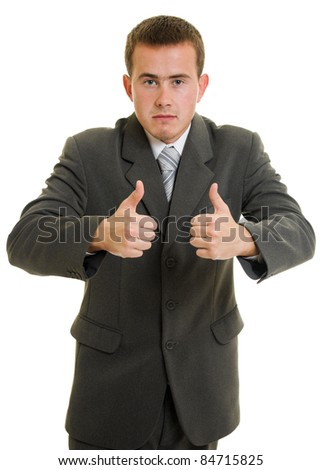 Businessman ok on a white background.