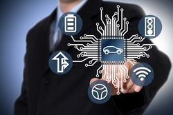 Businessman on a blurry background. Automobile chip illustration and several icons.