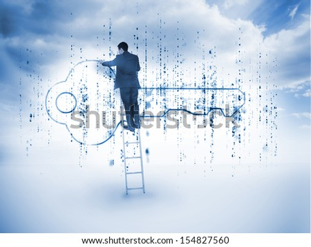 Businessman on a ladder drawing a key with blue sky on the background