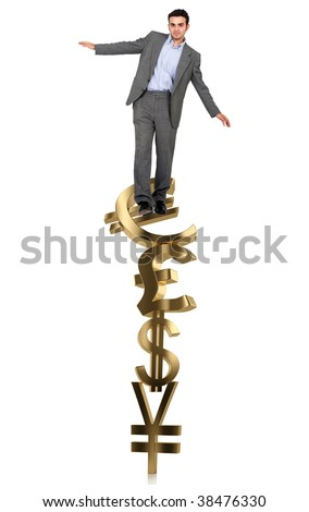 Businessman on a pile of currency symbols isolated