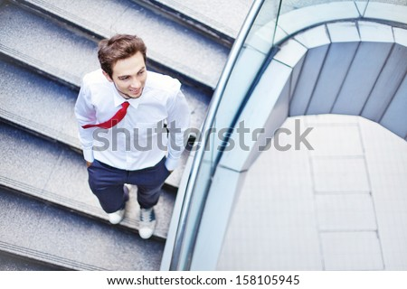businessman on a stairs